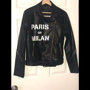 Typography Moto faux leather jacket